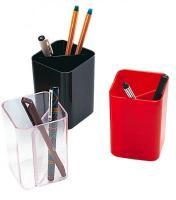 Suport de birou, 2 compartimente, rosu transparent, MAS 490