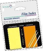 Index autoadeziv, 25 x 45mm, 25 indecsi/culoare, 2 culori neon/set, HOPAX