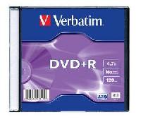 DVD+R, 4.7GB, 16X, carcasa slim, VERBATIM Matt Silver